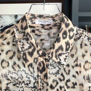 Equipment Femme Floral Leopard Silk Blouse Sz XS
